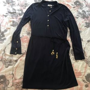 Calvin Klein Shirt Dress w/ waist cord. Navy. 10